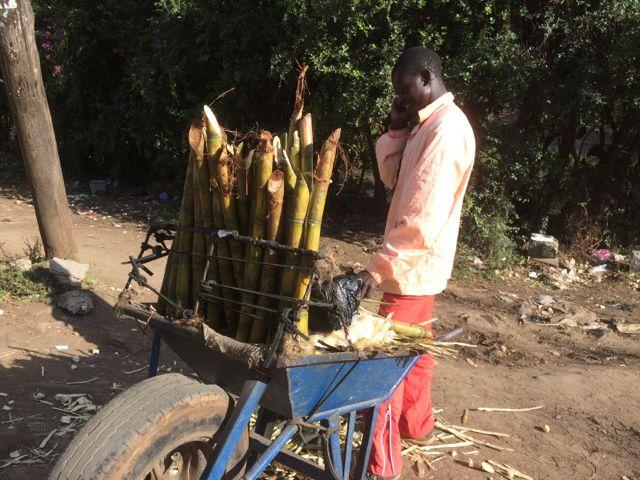 Sockerrörsförsäljaren - han har så pass inkomst att han kan ringa på sin mobil. Lägg märke till skottkärrehjulet!