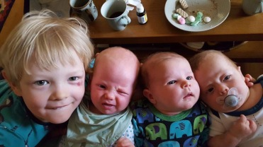 Manfred with Jorunn and the twins, Kian and Melvin